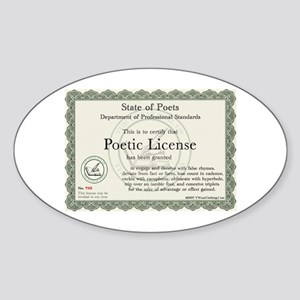 Poetic License Oval Sticker